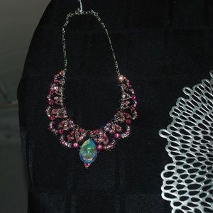 Vtg Collar Necklace w/ Dazzling Pink Rhinestones